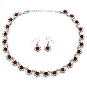 Classic silver red necklace earring set